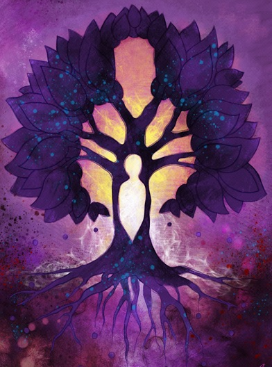 spiritual tree roots leaves-person-in-tree-branches-celestial